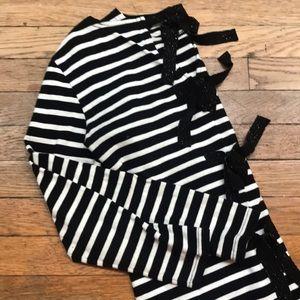 J.crew black and white striped shirt